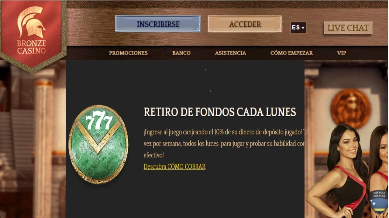 Lunes de reembolso 10% por retiros en Bronze Casino
