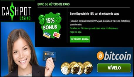 15% promocional por método de ingreso en Casino Cashpot