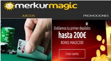 Por primer depósito en Merkurmagic 200 euros adicionales